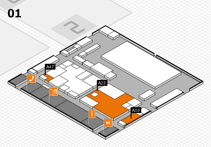 boot 2017 hall map (Hall 1): stand A03, stand A47