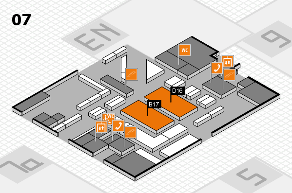 boot 2018 hall map (Hall 7): stand B17, stand D16