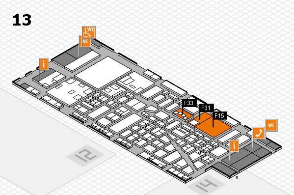 boot 2018 hall map (Hall 13): stand F15, stand F33
